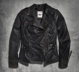 Harley-Davidson® Women's Winsome Studded Leather Biker Jacket 97101-16VW