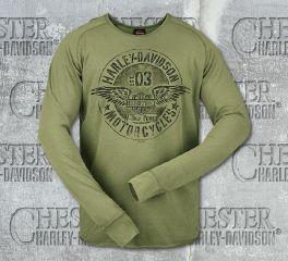 Harley-Davidson® Men's Twin Wing Raglan Green Long Sleeve Tee R002458C