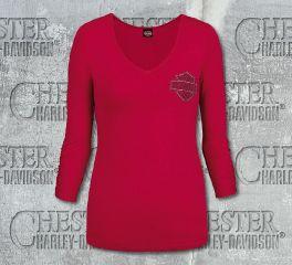 Harley-Davidson® Women's Shine Logo Studded B&S V-Neck Red 3/4 Sleeve Tee R002526