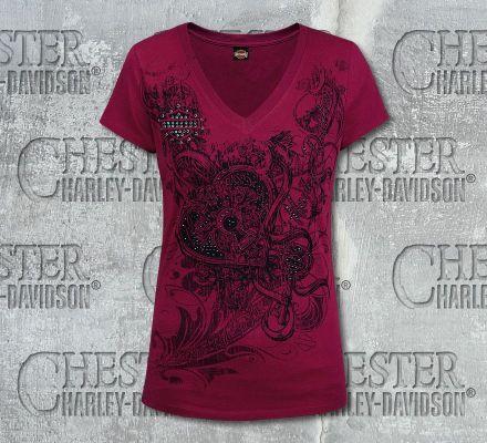 Harley-Davidson® Women's Locket Studded Detail V-Neck Red Short Sleeve Tee R002521