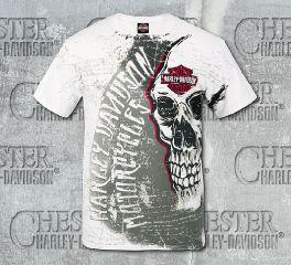Men's Allover Print Skull White Short Sleeve Tee R002459