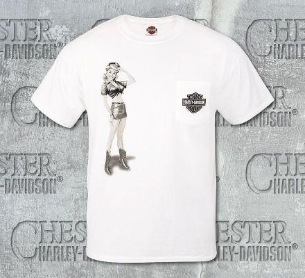 Harley-Davidson® Men's Short Sleeve Pocket White Tee R002453