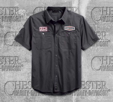 Harley-Davidson® Men's Skull Patch Slim Fit Short Sleeve Shirt 99081-18VM