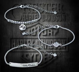 Harley-Davidson® Women's Silver Rhinestone Stackable Bracelets 99444-18VW
