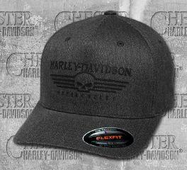 Harley-Davidson® Men's Charcoal Grey Silicone Skull Stretch Cap 99428-18VM