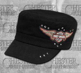 Harley-Davidson® Women's Black Winged Logo Flat Top Cap 99441-18VW