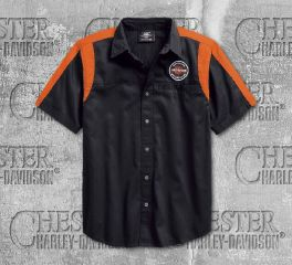 Harley-Davidson® Men's Black Genuine Oil Can Colourblock Shirt 99066-18VM