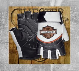 Harley-Davidson® Women's White Whistler Fingerless Gloves 98167-18VW