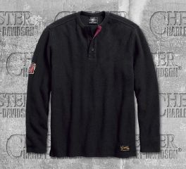Harley-Davidson® Men's Black No. 1 Genuine Classics Henley 99021-18VM