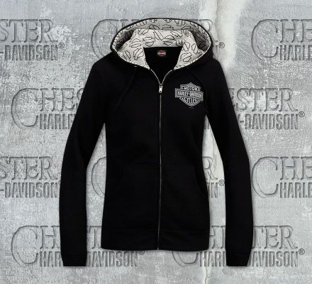 Harley-Davidson® Women's Shimmer Logo B&S Full Zip Black Long Sleeve Hoodie R002310