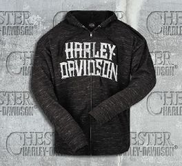 Harley-Davidson® Men's Black Name Blend Full-Zip Long Sleeve Hoodie R002469