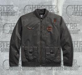 Harley-Davidson® Men's Asphalt Checkered Flag Eagle Bomber Jacket 97455-18VM