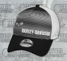 Harley-Davidson® Men's Black & White Skull Striped 39THIRTY® Cap 97646-18VM