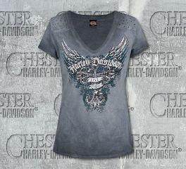 Harley-Davidson® Women's Grey Shadow Wings Short Sleeve Tee, RK Stratman Inc. R002522