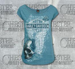 Harley-Davidson® Women's Teal Haunted Slub Scoop Neck Short Sleeve Tee, RK Stratman Inc. R002536