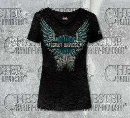 Harley-Davidson® Women's Blushing Black V-Neck Short Sleeve Tee, RK Stratman Inc. R002631