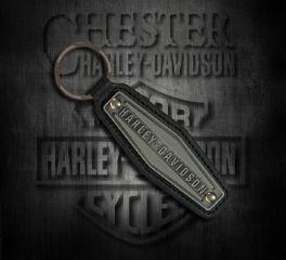 Harley-Davidson® Hexagon Antiqued Tin Logo on Black Leather Key Fob KY09506