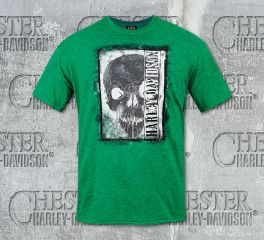 Men's Reverse Skull Green Grey Dyed Short Sleeve Tee