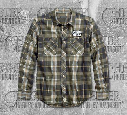 Harley-Davidson® Men's Plaid Lightning Bolt Slim Fit Long Sleeve Shirt 96165-18VM