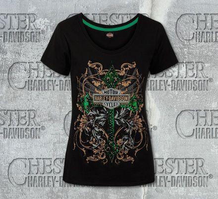 Harley-Davidson® Women's Vexed Black Cotton Short Sleeve Tee, RK Stratman Inc. R002637