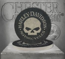 Harley-Davidson® Hubcap Skull Sandstone Coaster Set Of Two, Global Products, Inc. CS102988