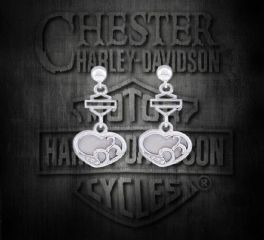 Harley-Davidson® Women's Mother of Pearl Filigree Heart Post Earrings, MOD Jewelry Group Inc. HDE0410