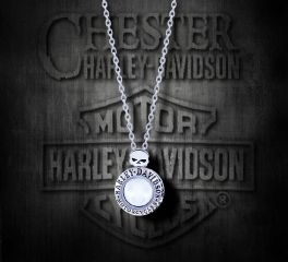Harley-Davidson® Women's Large Willie G Skull Circle Ride Locket Necklace, MOD Jewelry Group Inc. HSN0034