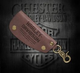 Harley-Davidson® Men's Snap Hook Brown Leather Key Fob 97707-18VM