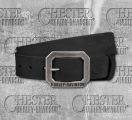 Harley-Davidson® Men's Lightning Bolt Distressed Finish Black Leather Belt 97703-18VM