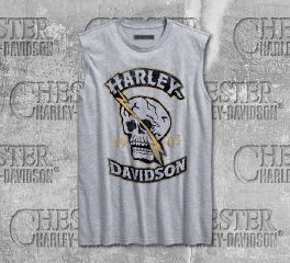Harley-Davidson® Men's Heather Grey Skull Lightning Slim Fit Muscle Tee 96226-18VM