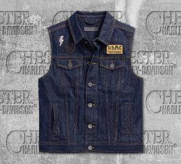 Harley-Davidson® Men's Dark Indigo Loud & Proud Slim Fit Denim Vest 96239-18VM