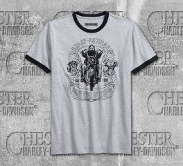 Harley-Davidson® Men's Heather Grey Retro Chopper Slim Fit Short Sleeve Tee 96227-18VM