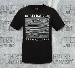 Harley-Davidson® Men's Black Lined Logo Short Sleeve Tee, RK Stratman Inc. R002594