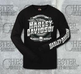 Harley-Davidson® Men's Logo Wheel Wing Black Long Sleeve Tee, RK Stratman Inc. R002621