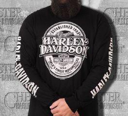 Harley-Davidson® Men's Black Distressed Branded Oval Long Sleeve Tee, Bravado International Group, Inc. 30298812