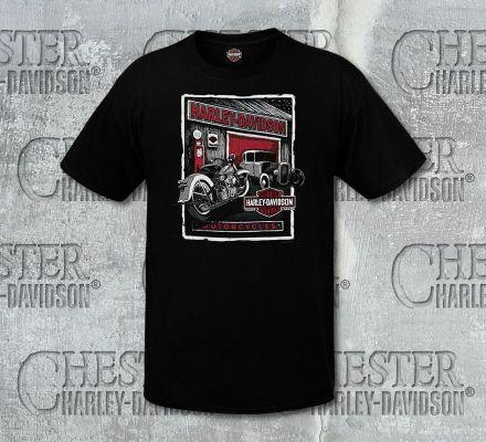 Harley-Davidson® Men's Grunge Garage Black Short Sleeve Tee, RK Stratman Inc. R002705