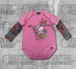 Harley-Davidson® Baby Girl's Glitter Infant Creeper with Mesh Tattoo Sleeves, OkisOnent GmbH 3010611