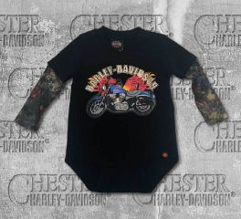 Harley-Davidson® Baby Boy's Motorcycle Infant Creeper with Tattoo Sleeves, OkisOnent GmbH 3060641