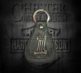 Harley-Davidson® Men's No.1 Medallion Teardrop Key Fob, Leather Accessory Source XFL0084