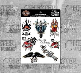 Harley-Davidson® Inked Assortment Temporary Tattoo Sheet, Global Products, Inc. TT1233
