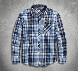 Harley-Davidson® Skull Lightning Slim Fit Plaid Shirt 96237-18VM