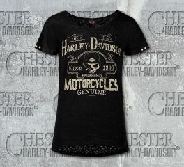 Harley-Davidson® Women's Black Open Road Skull Short Sleeve Tee, RK Stratman Inc. R002774