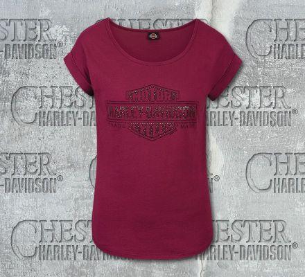 Harley-Davidson® Women's Maroon Density B&S® Short Sleeve Tee, RK Stratman Inc. R002636
