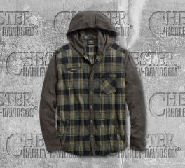 Harley-Davidson® Jersey Sleeve Hooded Shirt Jacket 96538-19VM