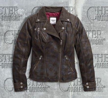 Harley-Davidson® Women's Haunt Plaid Leather Biker Jacket 97164-17VW