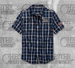Harley-Davidson® Multi-Patch Slim Fit Plaid Shirt 99145-19VM