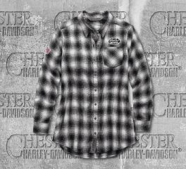 Harley-Davidson® Crackle Print Graphic Plaid Shirt 99112-19VW