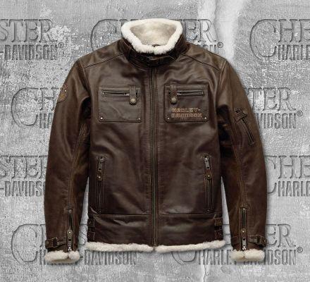 Harley-Davidson® Men's Brown Haxen Slim Fit Leather Jacket 97025-19EM