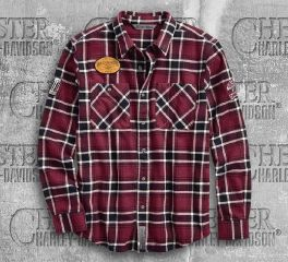 Harley-Davidson® Men's Multi-Patch Slim Fit Plaid Shirt 96606-19VM