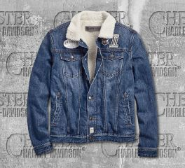 Harley-Davidson® Men's Sherpa Fleece Denim Slim Fit Jacket 96600-19VM